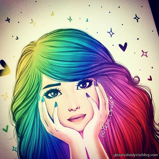colorful girly_m drawing - Image by Noor Ahmed