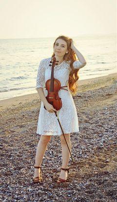 photography violin beach girl turkey