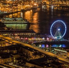 seattle seattlewheel arielview night photography