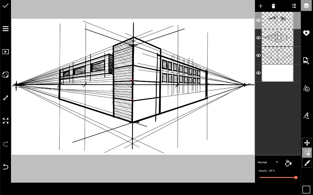 Sketch building details in prospective drawing